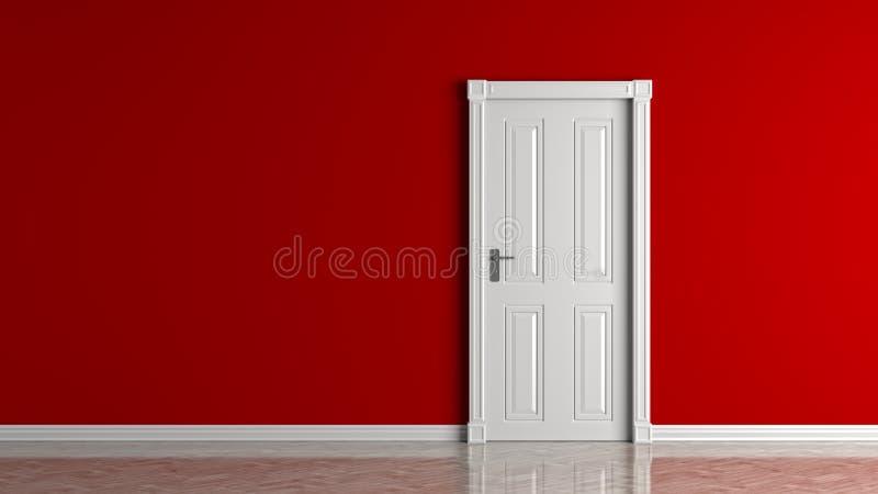 Röd tom vägg och stängd vit dörråtlöje upp illustration 3d stock illustrationer
