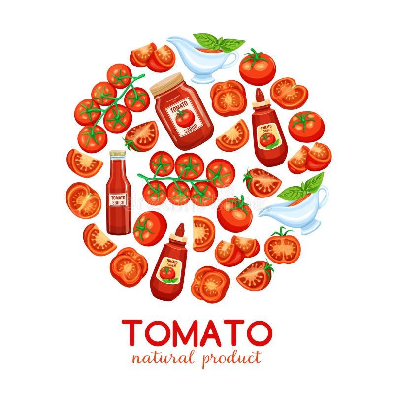 Röd tomat med sås royaltyfri illustrationer