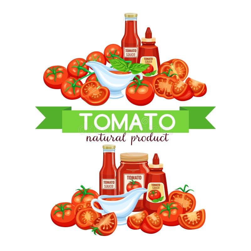Röd tomat med sås stock illustrationer