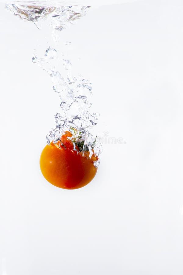 Röd tomat som plaskar i vatten royaltyfria bilder