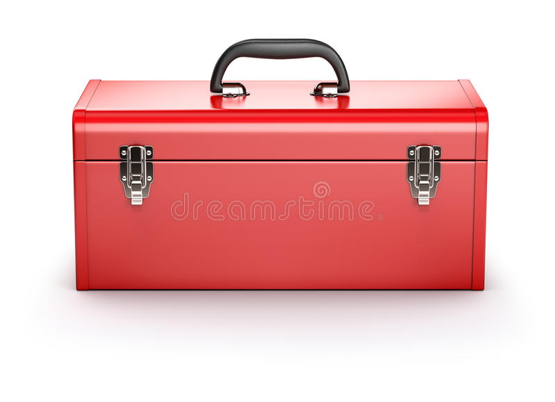 Röd toolbox royaltyfri illustrationer