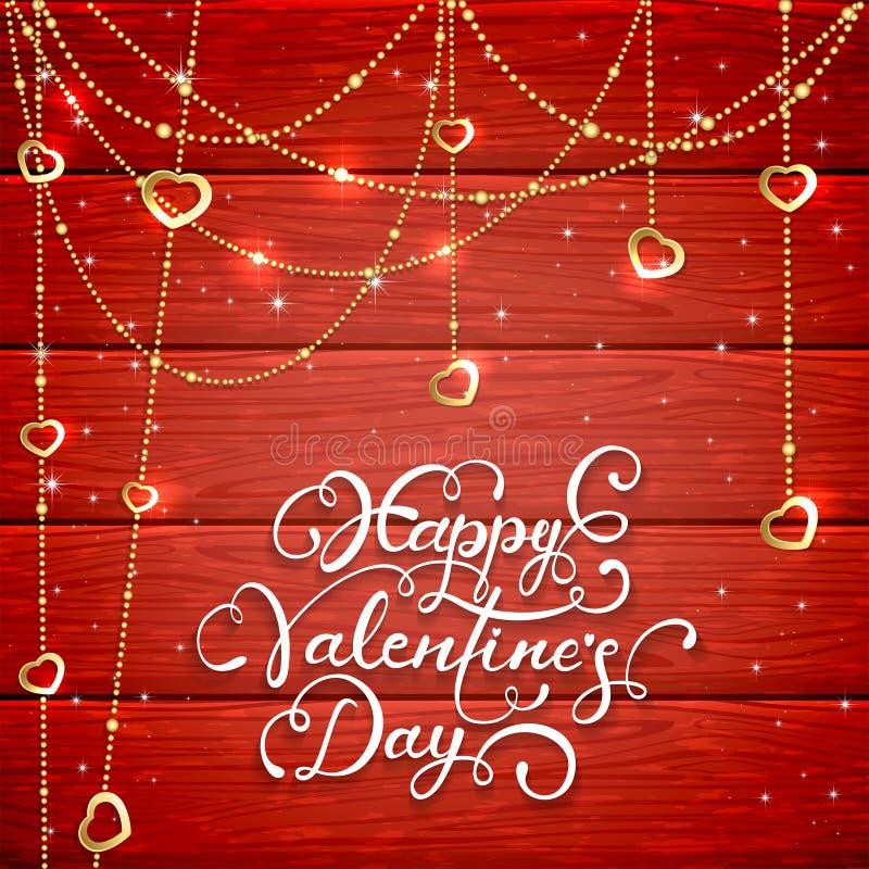 Röd träbakgrund med valentinhjärtor och pärlor royaltyfri illustrationer