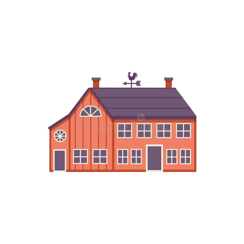 Röd trälantgårdladugård i plan stil som isoleras på vit bakgrund stock illustrationer