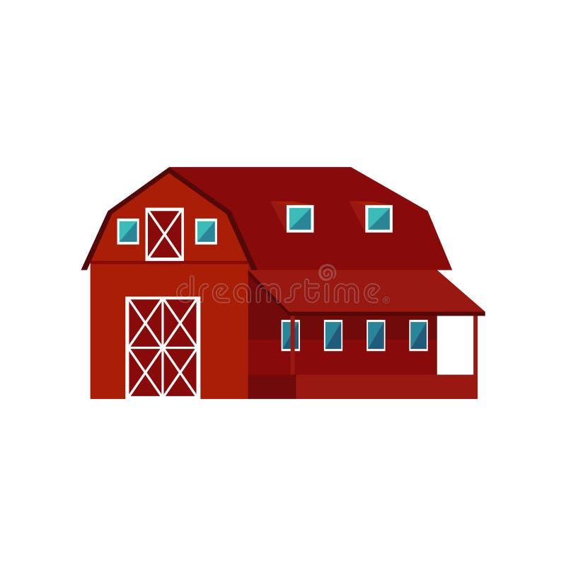 Röd trälantgårdladugård - jordbruks- byggnad för boskap eller utrustning stock illustrationer