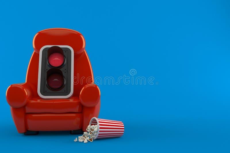 Röd trafikljus med teaterfåtöljen och popcorn vektor illustrationer