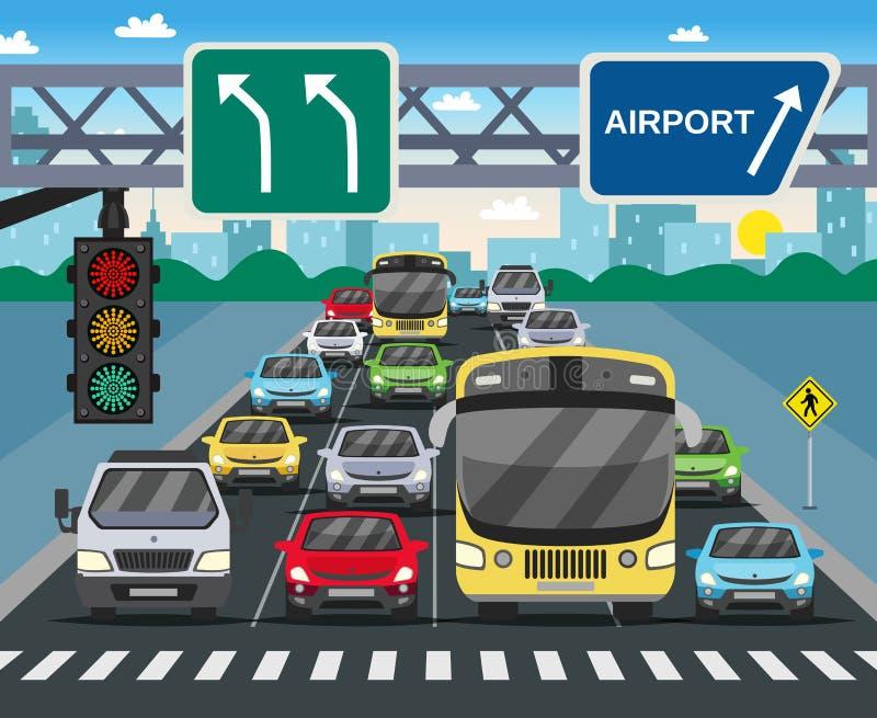 Röd trafikljuslägenhetillustration vektor illustrationer