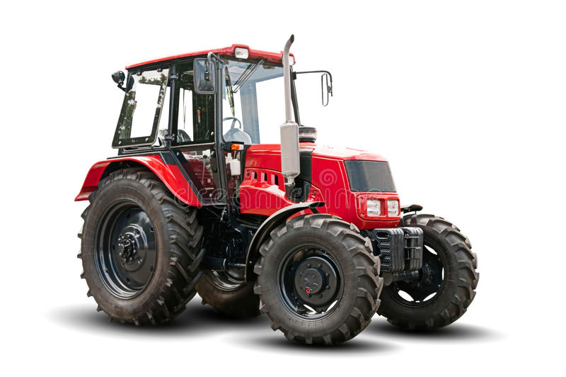 röd traktor royaltyfria foton