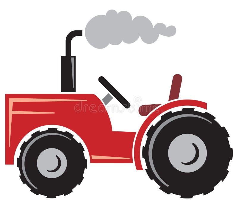 Röd traktor royaltyfri illustrationer