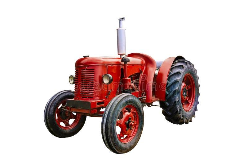 Röd traktor för tappning arkivbilder