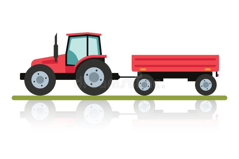 Röd traktor med en släp för trans. av stora påfyllningar Jordbruks- maskineri i plan tecknad filmstil stock illustrationer