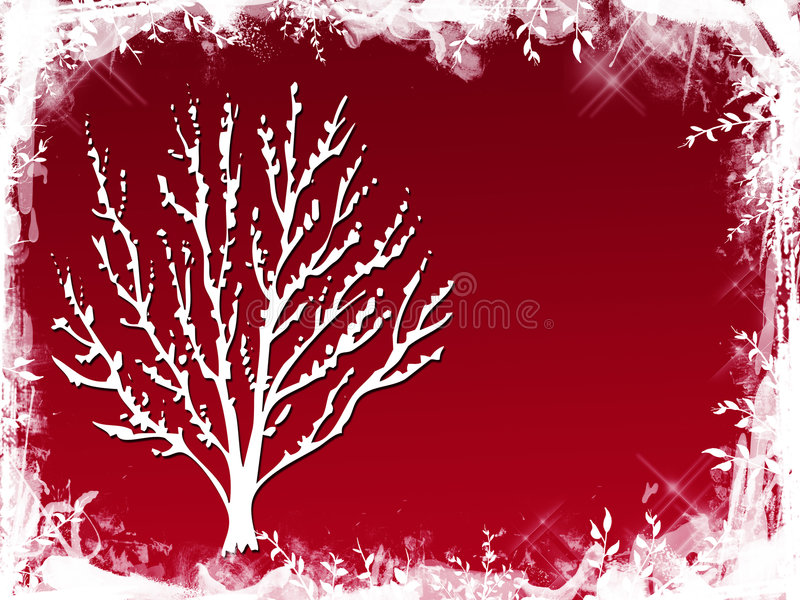 röd treevinter royaltyfri illustrationer