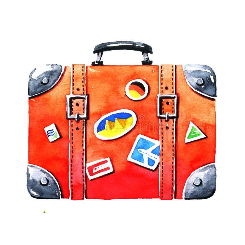 Röd turist- resväska royaltyfria bilder