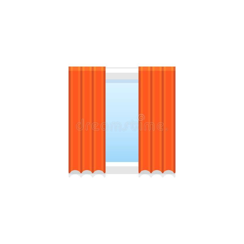 Röd tyggardin också vektor för coreldrawillustration Plan symbol av förhängen för royaltyfri illustrationer