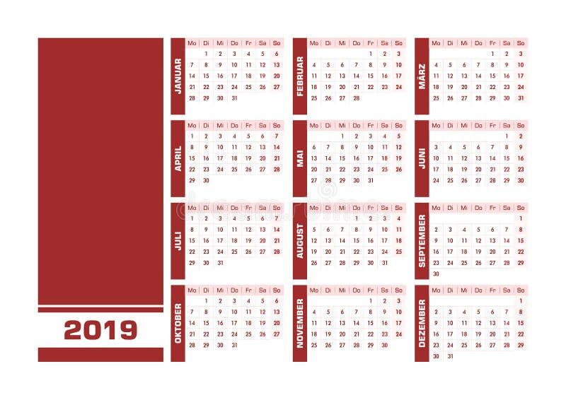 Röd 2019 tysk kalender royaltyfri illustrationer