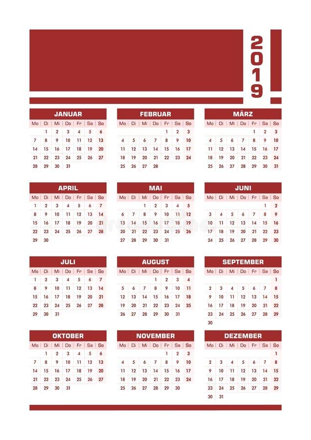 Röd 2019 tysk kalender stock illustrationer