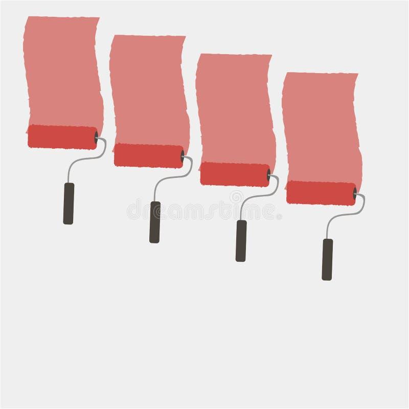 Röd uppsättning av färgrika borstar för målarfärgrulle Rgb-vektorillustration royaltyfri illustrationer