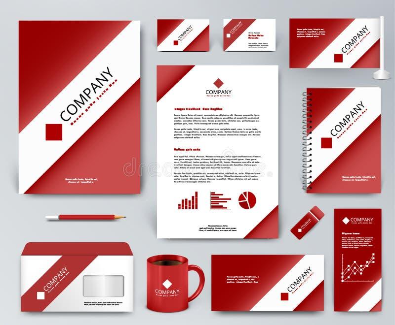 Röd uppsättning för företags identitet med det vita bandet på den röda bakgrunden stock illustrationer