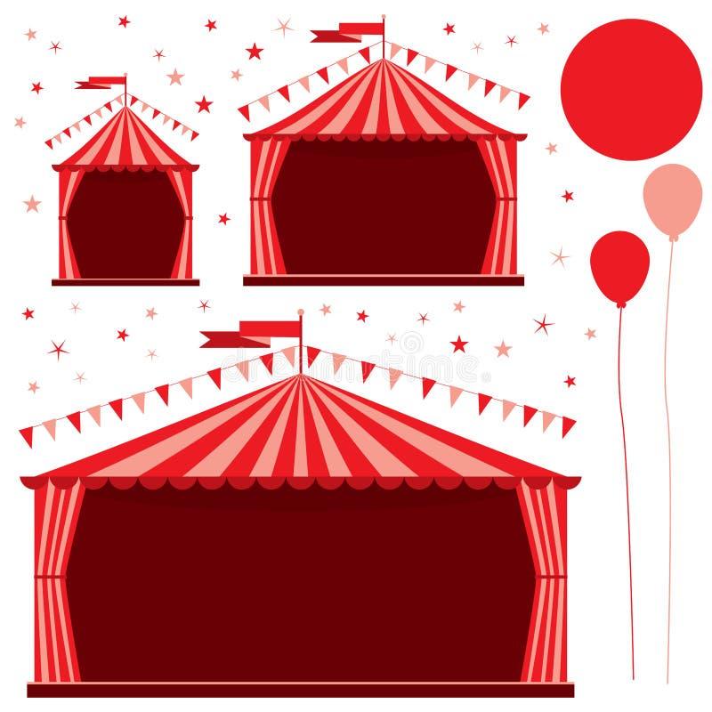 Röd uppsättning för karnevaltältcirkus vektor illustrationer