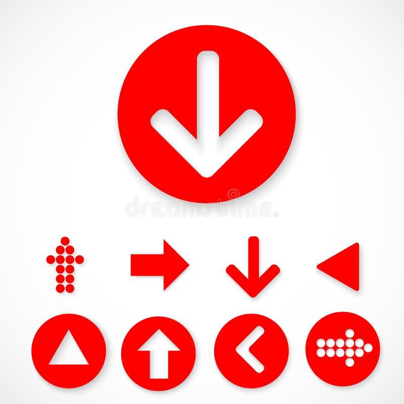 Röd uppsättning för pilteckensymbol royaltyfri bild