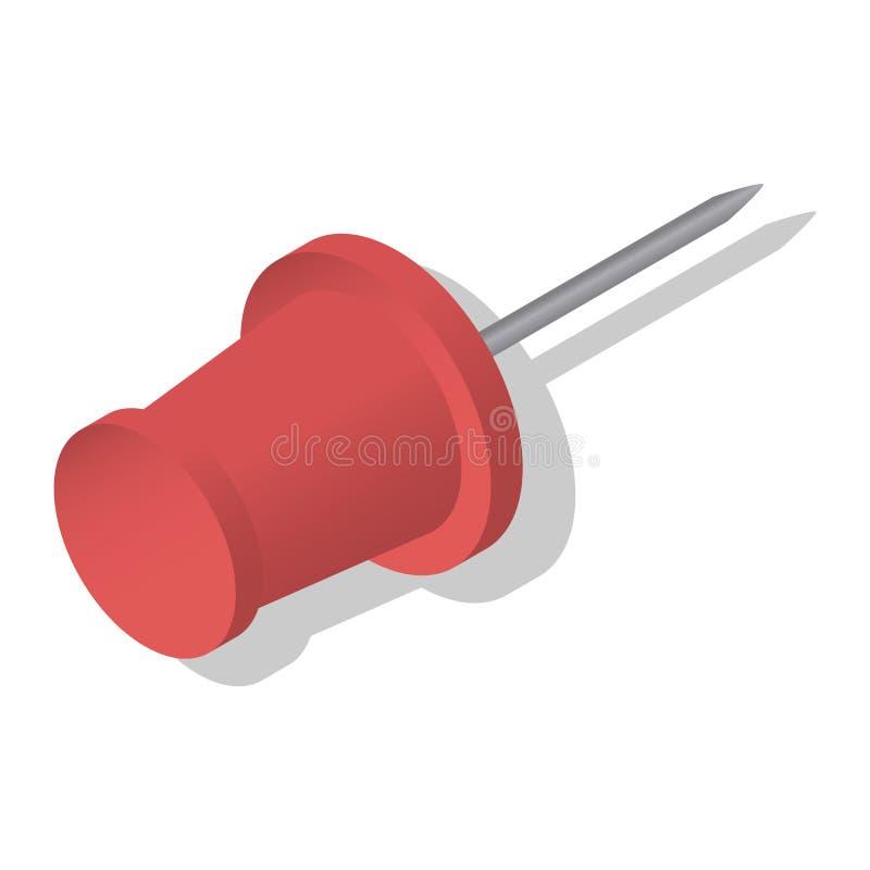 Röd uppsättning för pushstiftsymbol, isometrisk stil royaltyfri illustrationer