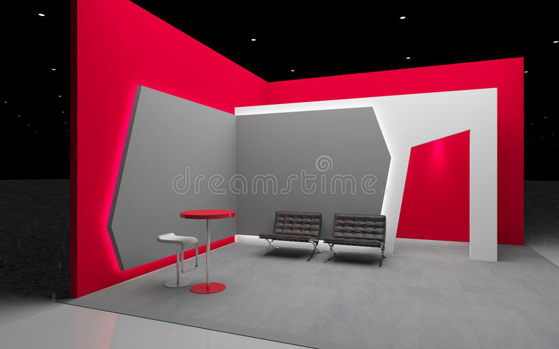 Röd utställningstand royaltyfri illustrationer
