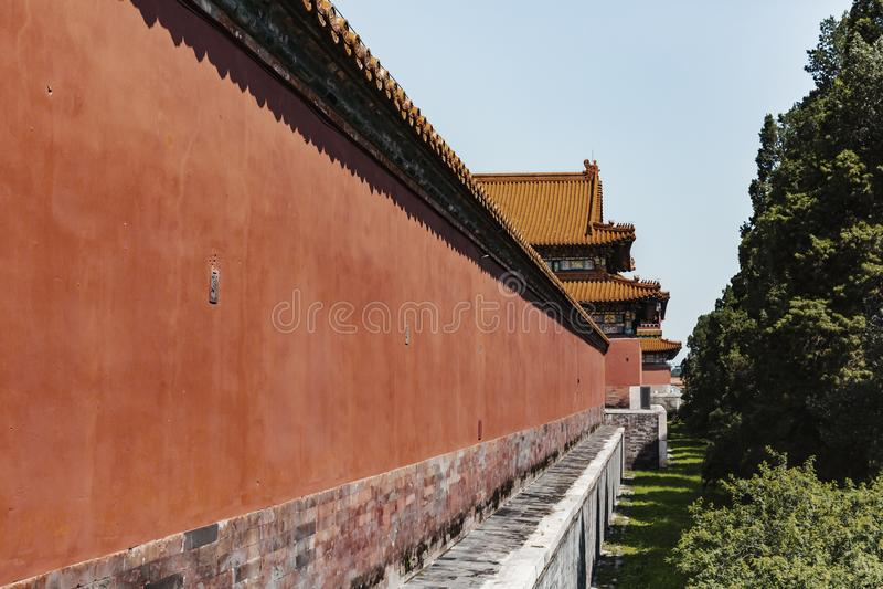 Röd vägg av den förbjudna slotten i Peking, Kina arkivbild