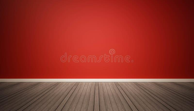 Röd vägg och wood golv för mörker vektor illustrationer