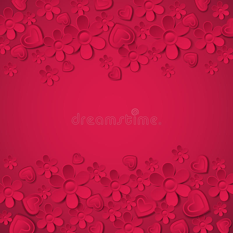 Röd valentinbakgrund med många blommar, vectoen royaltyfri illustrationer