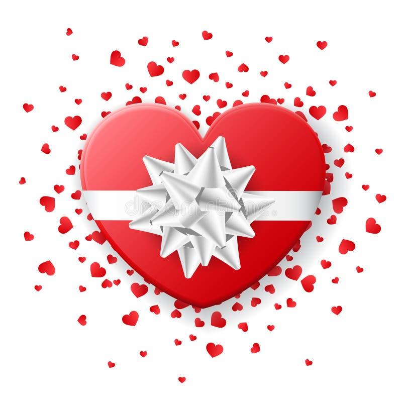 Röd valentinhjärtaask med den vita pilbågen, med hjärtakonfettier royaltyfri illustrationer