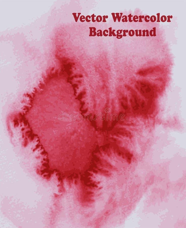 röd vattenfärg som svävar fläcken royaltyfri illustrationer