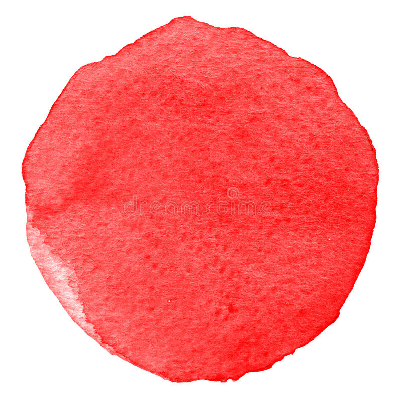 Röd vattenfärgcirkel Fläck med pappers- textur Designbeståndsdel som isoleras på vit bakgrund Hand dragen abstrakt mall arkivbild