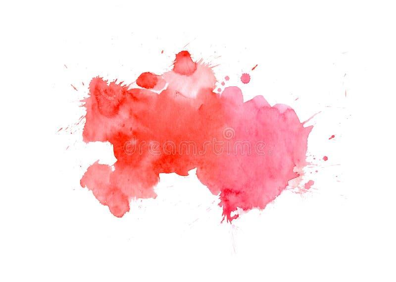 Röd vattenfärgfläck med tvättar sig Vattenfärgtextur för valentindagen, bröllop, kort royaltyfri bild
