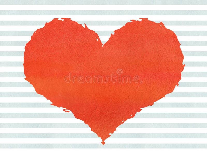 Röd vattenfärggrungehjärta på backgroun för blåa band för vattenfärg royaltyfri illustrationer