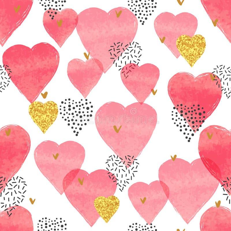 Röd vattenfärghjärtamodell Hjärta för två rosa färg vektor illustrationer