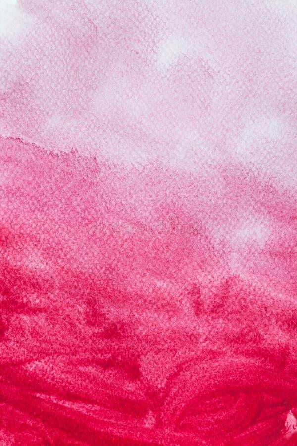 Röd vattenfärgmålarfärg på kanfas abstrakt konstbakgrund royaltyfri illustrationer