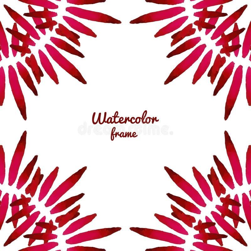 Röd vattenfärgram för vektor Vektorgränsram Användas för banret, kort, flayer, kan att gifta sig inbjudan stock illustrationer