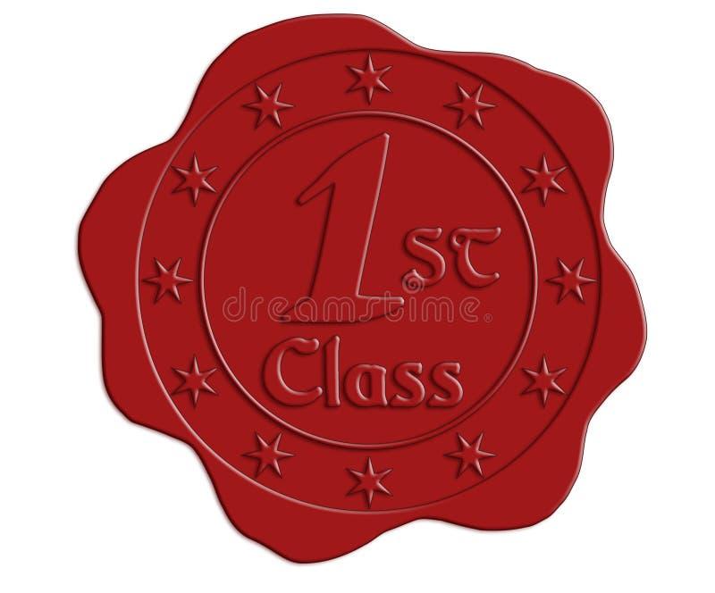 Röd vaxskyddsremsa för första klass royaltyfri illustrationer