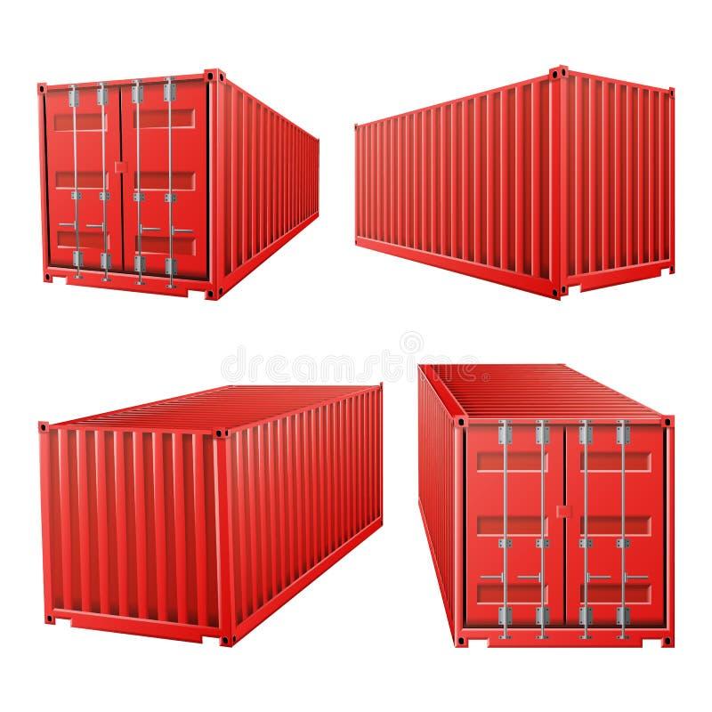 röd vektor för behållare för last 3D Klassisk lastbehållare Fraktsändningsbegrepp Logistik trans.åtlöje upp stock illustrationer