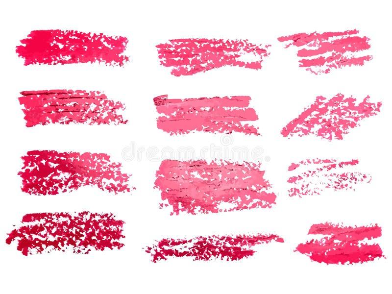 Röd vektor för fläckar för för för borsteslaglängdbakgrunder, målarfärg eller färgpulver för ta vektor illustrationer