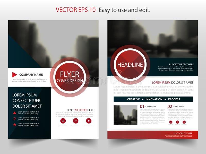 Röd vektor för mall för design för broschyr för årsrapport för svartabstrakt begreppcirkel Reklamblad för affisch för tidskrift f stock illustrationer