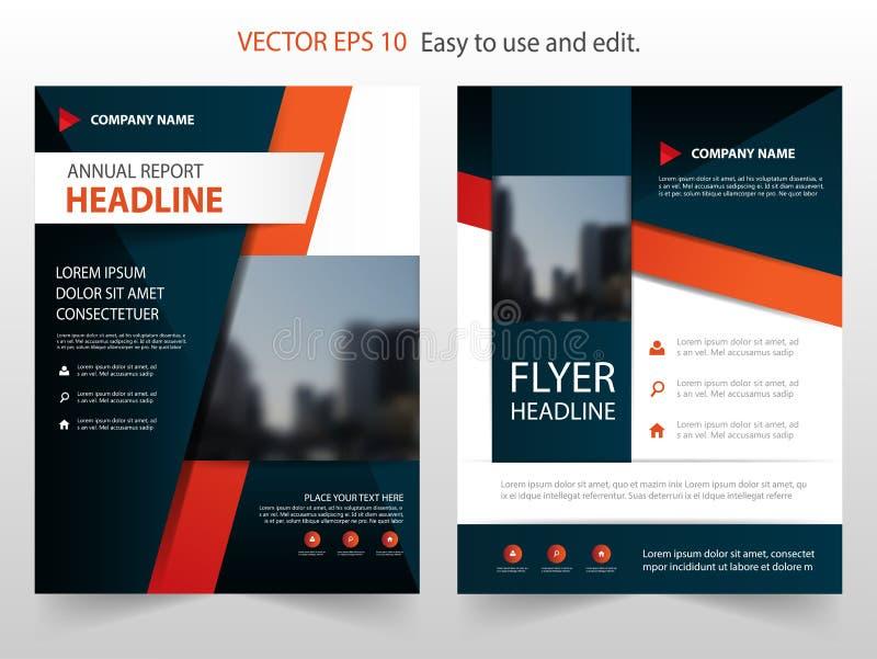 Röd vektor för mall för design för broschyr för svartabstrakt begreppårsrapport Affisch för tidskrift för affärsreklamblad infogr royaltyfri illustrationer