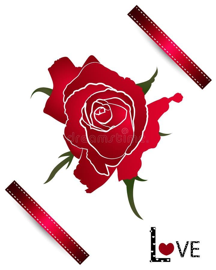 Röd vektor för roskortdesigner på vit bakgrund royaltyfri illustrationer