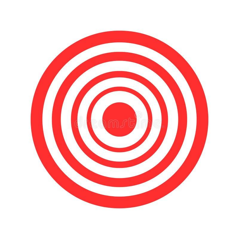 Röd vektorillustration för bågskytte av målet på vit bakgrund stock illustrationer