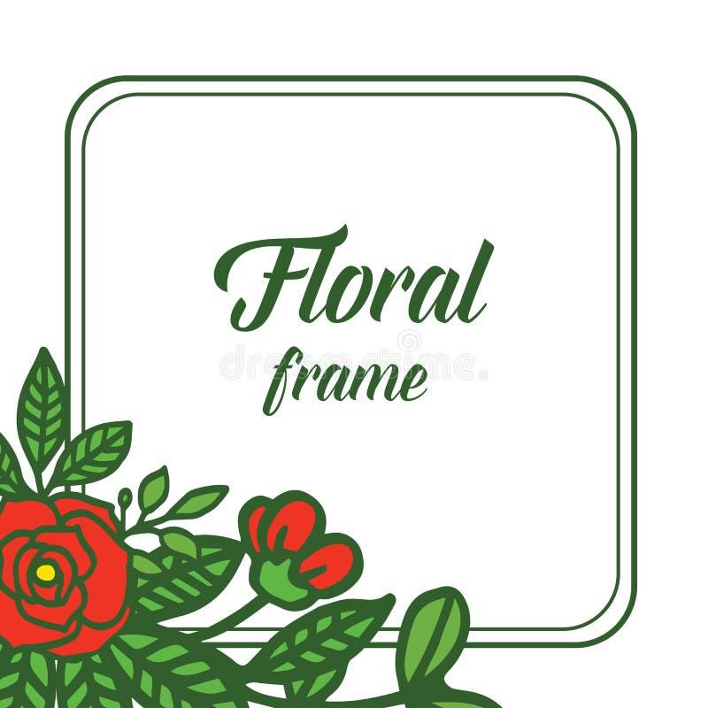 Röd vektorillustrationgarnering steg den blom- ramen royaltyfri illustrationer