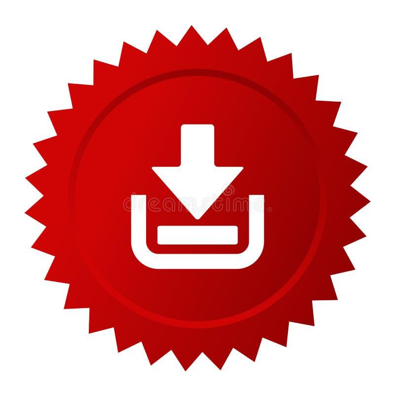 Röd vektorklistermärke för nedladdning vektor illustrationer