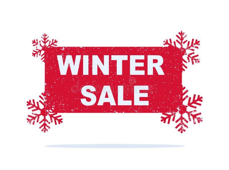 Röd vinterförsäljningsklistermärke med snöflingor stock illustrationer