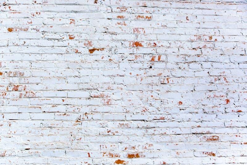 Röd vit väggbakgrund Tappningvägg med skalad murbruk arkivfoto