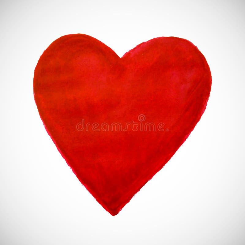 röd white för bakgrundshjärta Hand-dragen målad hjärta för t-sh stock illustrationer