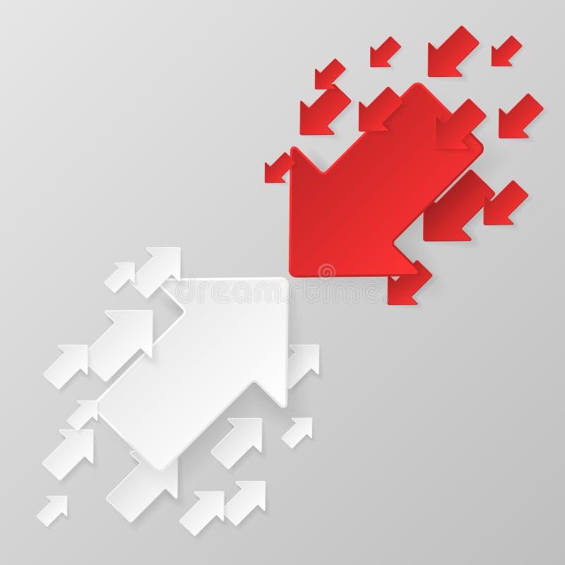 röd white för pilar royaltyfri illustrationer