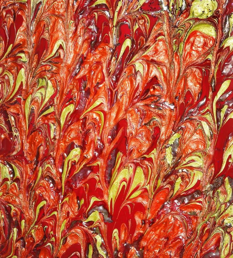 röd yellow för designmarmormålarfärg royaltyfria bilder